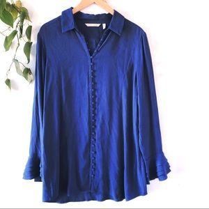 Soft Surroundings Poet blouse blue size small